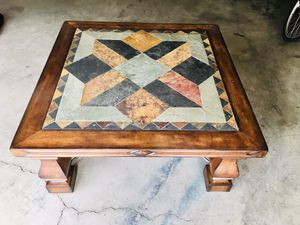 High end solid wood stone iron coffee table for Sale in Sunriver, OR