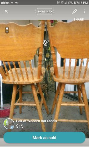 Pair of wooden bar stools for Sale in Fresno, CA