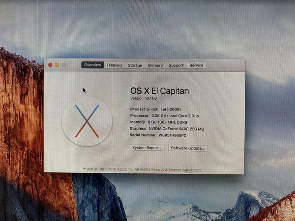 iMac 21.5 Late 2009 3Ghz Core 2 Duo 8GB Memory 128SSD