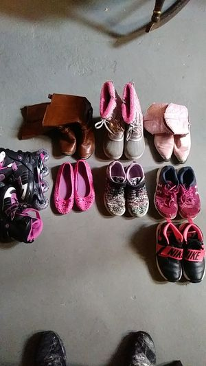 Assorted girls boots, tennis shoes and rollerblades for Sale in High Ridge, MO