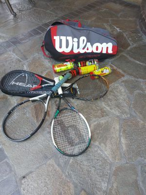 Tennis rackets with Wilson bag and tennis balls for Sale in Paramount, CA
