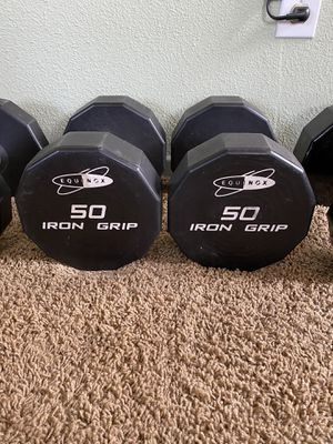 Iron grip 50lbs dumbbells for Sale in Wildomar, CA
