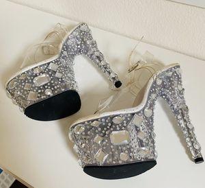 Ernestia diamond crystal clear pleasure platform dancer heel for Sale in San Marcos, CA