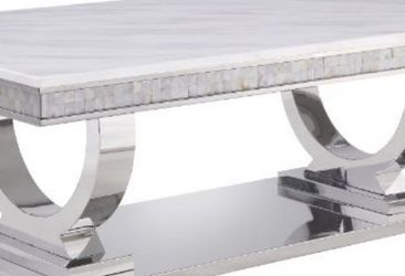 White Printed Faux Marble & Mirrored Silver Finish Coffee Table for Sale in Lynn,  MA