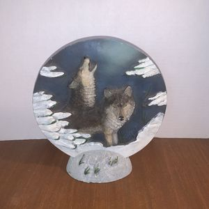 Wolf Plate With Display Stand for Sale in New York Mills, MN
