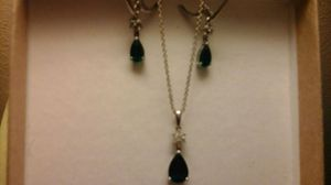 Sterling silver emerald and diamond necklace and earrings for Sale in St. Louis, MO