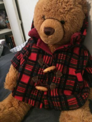 Vintage FINE TOYS Stuffed Plush Teddy Bear with Plaid Button Coat -Collectible Plush for Sale in Philadelphia, PA
