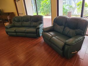 La-z-boy Reclining Sofa and Reclining Loveseat - Genuine Leather!! for Sale in Melbourne, FL