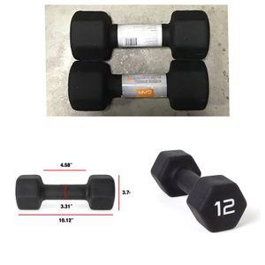 CAP Barbell Black Neoprene Dumbbell, Set of 2 (12 lbs each) for Sale in Missouri City, TX