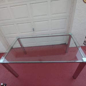 Modern Tempered Glass Table with stainless steel base for Sale in Boca Raton, FL