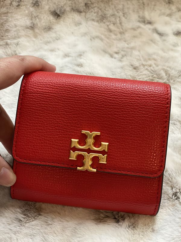 EUC Tory Burch Compact Colorblock Wallet in Red