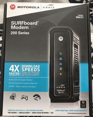 Motorola SURFboard Modem 200 series Model SB6121 (like new in box). Stop renting your modem from your cable company! for Sale in London, OH