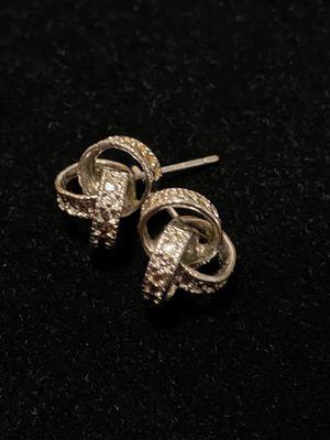 Knot Earrings 1/10 ct tw Diamonds Sterling Silver for Sale in Ridgefield, WA