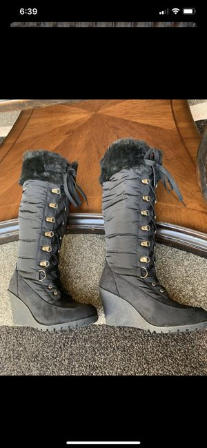 Women Black wedge boots brand new in the box size 7 for Sale in Dearborn Heights, MI