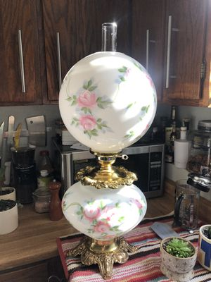 Antique Hand Painted Parlor 1920's Double Globe Lamp Milk Glass for Sale in Oakland, CA