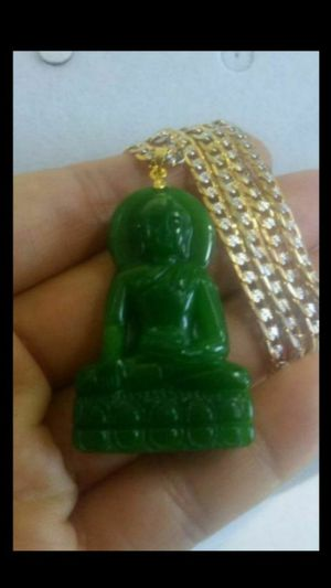 "Prayer Buddha deep green jade pndt gold filled chain 24"" 4mm for Sale in Richmond, CA"