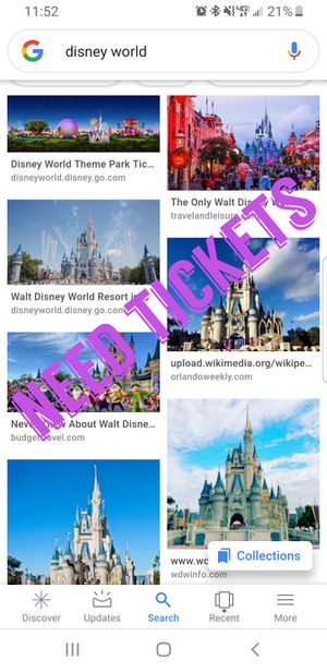 Need tickets for Disney world for Sale in Orlando, FL