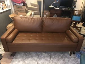 Brown, modern (faux) leather couch for Sale in VA, US