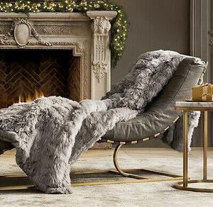 $1699 NEW Restoration Hardware Suri Alpaca Silver Fur Throw for Sale in Salt Lake City, UT