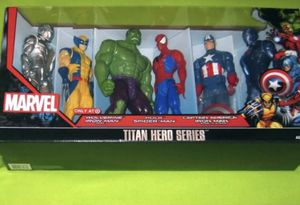 "Marvel 6 pack 12"" Action Figures Titan Hero Series Spider-Man, Captain America, Hulk, Wolverine, and IronMan (2versions) for Sale in West Carson, CA"