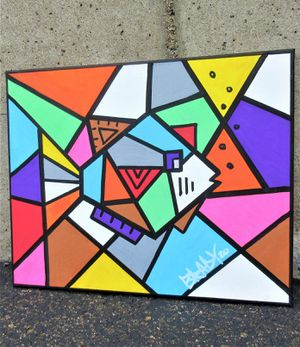 20x16 ORIGINAL SIGNED CUBISM PAINTING. STRETCHED CANVAS AND READY TO HANG! for Sale in Cincinnati, OH