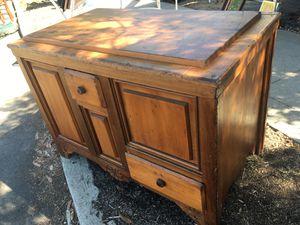 Pine cabinet storage trunk bin antique wood for Sale in San Diego, CA