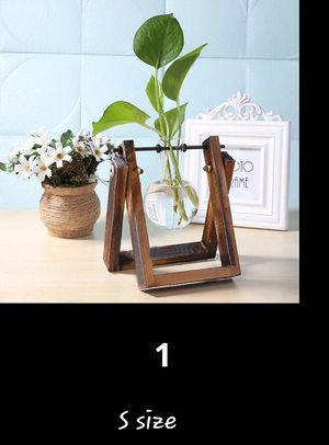 Glass and Wood Vase Planter Terrarium Table Desktop Hydroponics Plant Bonsai Flower Pot Hanging Pots with Wooden Tray Home Decor ck prices for Sale in Orlando, FL