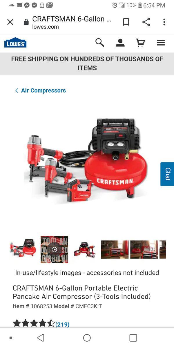 Craftsman 3 tool air compressor...2 dewalt impact drill with two battery kits.. 1 rigid circle saw...2 dewalt grinders..1 hammer drill
