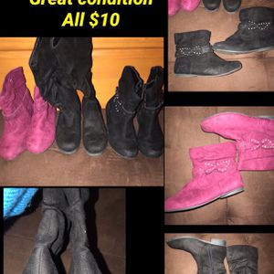 Girls Boots Pink Never Used The Tall Black Boots Never Used for Sale in Las Vegas, NV