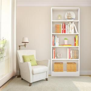 HAMPTON BAY 5 SHELF DECORATIVE BOOKCASE-White for Sale in Addison, TX