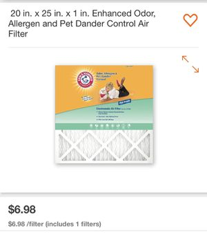 20 in. x 25 in. x 1 in. Enhanced Odor, Allergen and Pet Dander Control Air Filter (4 pack) for Sale in San Diego, CA