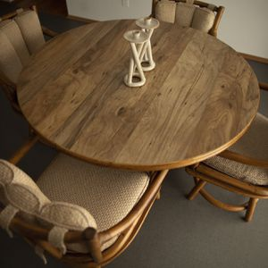 Mid-Century Ficks Reed Co. Round Rattan Game Table Set for Sale in Tigard, OR