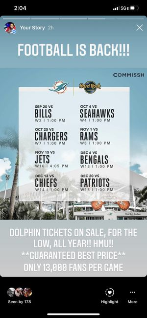 DOLPHIN TICKETS FOR GREAT PRICES!!! for Sale in Miami, FL