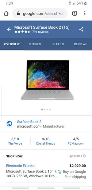 """Microsoft Surface Book 2 15"""" for Sale in Houston, TX"""
