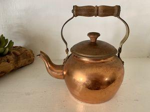 Antique copper tea kettle with wood handle for Sale in El Cajon, CA