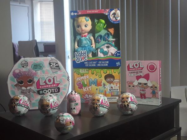 LOL winter disco surprise dolls, LOL pets, LOL 7 Layers of fun game, LOL surprise 25 pieces, Baby Alive dance class, slime kit,