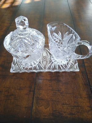 Vintage cut glass sugar and creamer set for Sale in Santee, CA