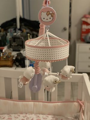 Hello Kitty Pink/Gold/White Musical Baby Crib Mobile for Sale in North Miami Beach, FL