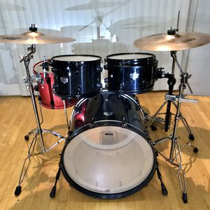 """Ddrum Defiant dark blue sparkle drum set 22"""" virgin bass 12 13 14"""" toms pearl hihat bass pedal Zildjian Sabian cymbals good condition $435 in Ontario for Sale in Chino, CA"""