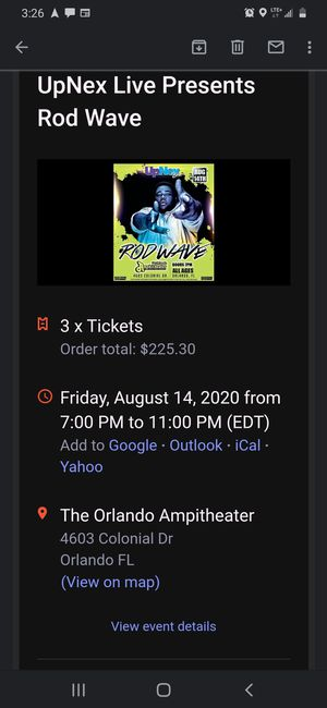 2 tickets for rod wave tonight for Sale in Riverview, FL