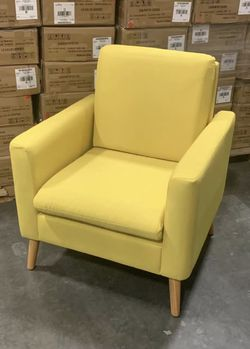 NEW $70 each 29x30x33 Inch Tall Modern Tufted Yellow or Navy Blue Color Accent Linen Fabric Upholstered Arm Sofa Single Chair Contemporary Furniture for Sale in Los Angeles,  CA