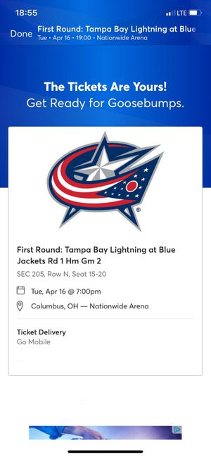 6 CBJ NHL Playoff Game 4 tickets for Sale in Columbus, OH