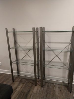 Two sturdy glass shelving units for Sale in Murfreesboro, TN