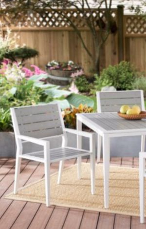 New!! Conversation set, outdoor3 pc bistro table conversation set, outdoor conversation set, garden furniture, outdoor set, white and gray for Sale in Phoenix, AZ