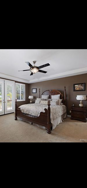 Solid wood cal king bedroom set with 2 nightstands and a dresser withdresser with mirror for Sale in Rancho Cucamonga, CA