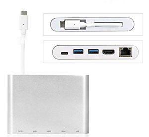 riida Magic type C Adaptateur HDMI Connecteur Chargeur USB Port Internet RJ45 LAN pour MacBook Surface Chromebook Dell et autres type C pour ordinate for Sale in Los Angeles, CA
