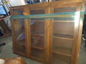 Bar liquor cabinet. Glass doors. Kitchen. Shelves for Sale in Dallas, TX