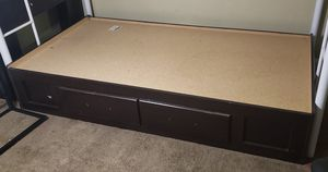 Wood twin bed frame with bookcase headboard for Sale in San Bernardino, CA