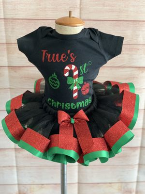 First Christmas outfit, first Xmas outfit, black and red tutu for Sale in Arnold, MO