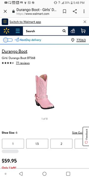Durango girls boots size 12.5 for Sale in Houston, TX